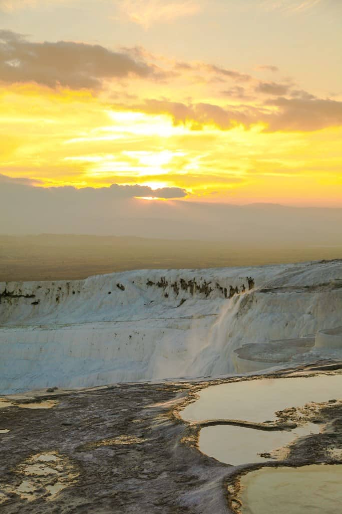 "Pamukkale, Turkey at Sunset. ""Turkey Pools"""
