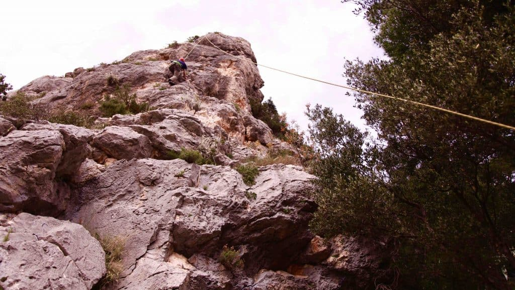 Climbing in Hvar with and adventure