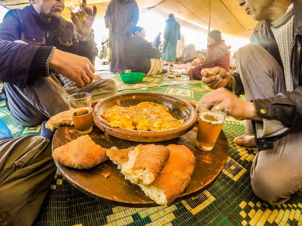 Eating at a local Berber market in Morocco