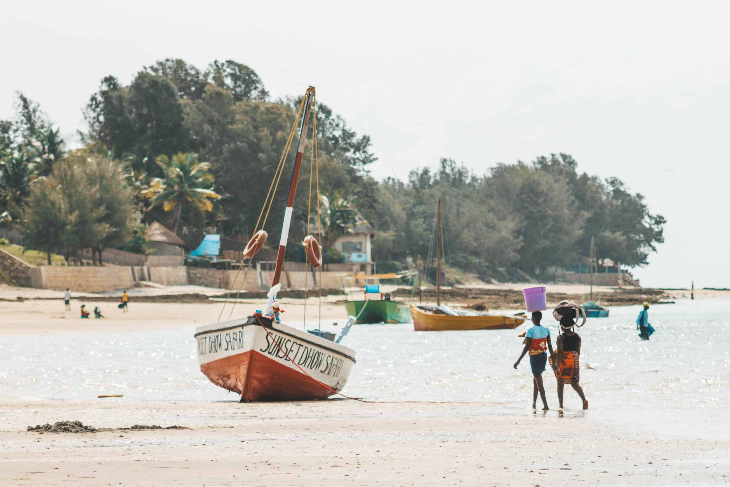 Mozambique Beach and Boats at Low Tide