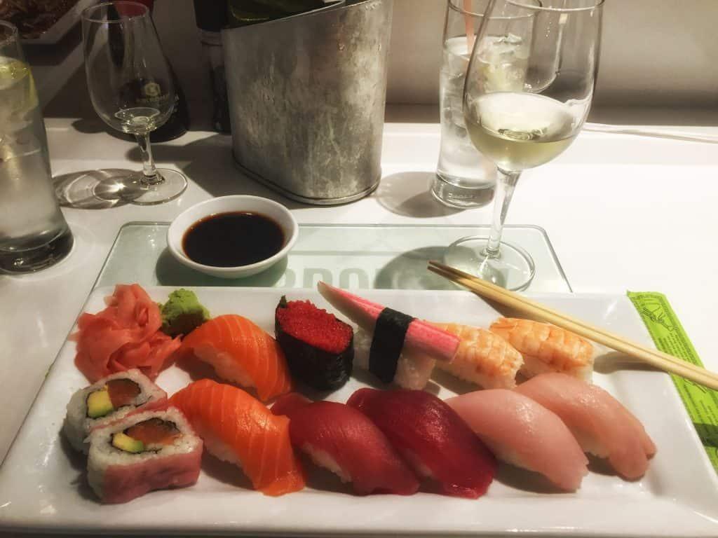 Gorging on sushi