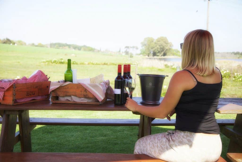 Sipping the wine in Stellenbosch
