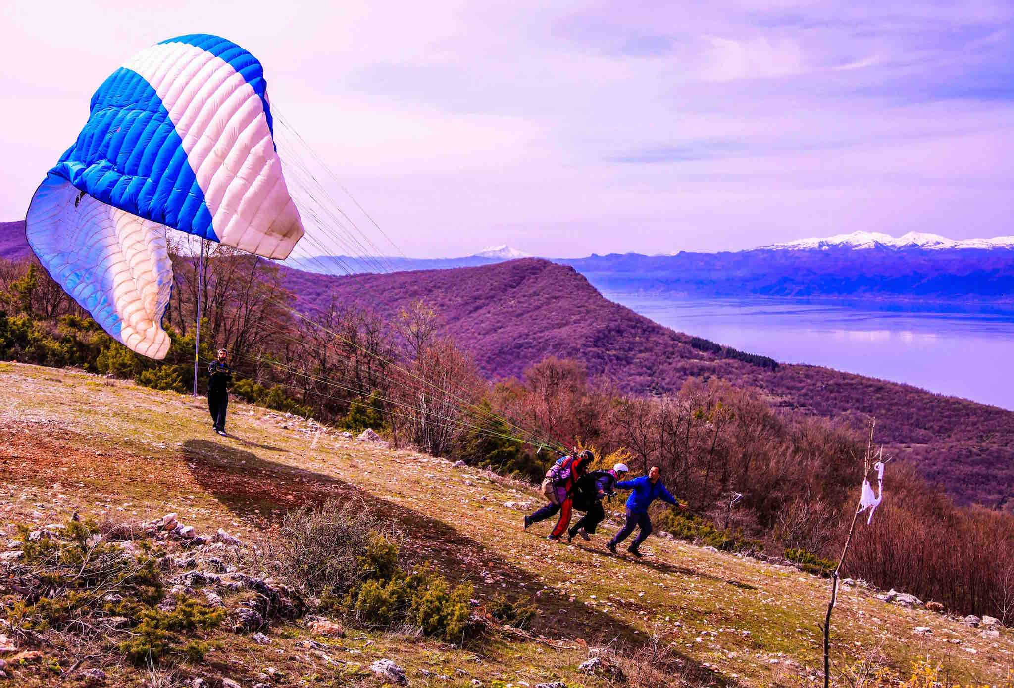 paragliding over lake ohrid