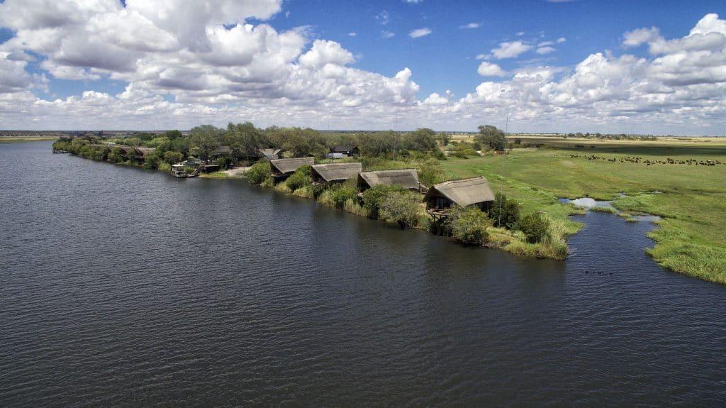 Drone footage of Chobe Water Villas