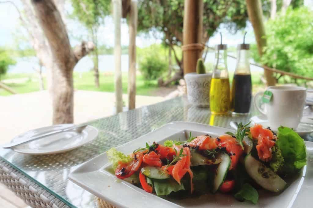 The food at the Vic Falls River Lodge