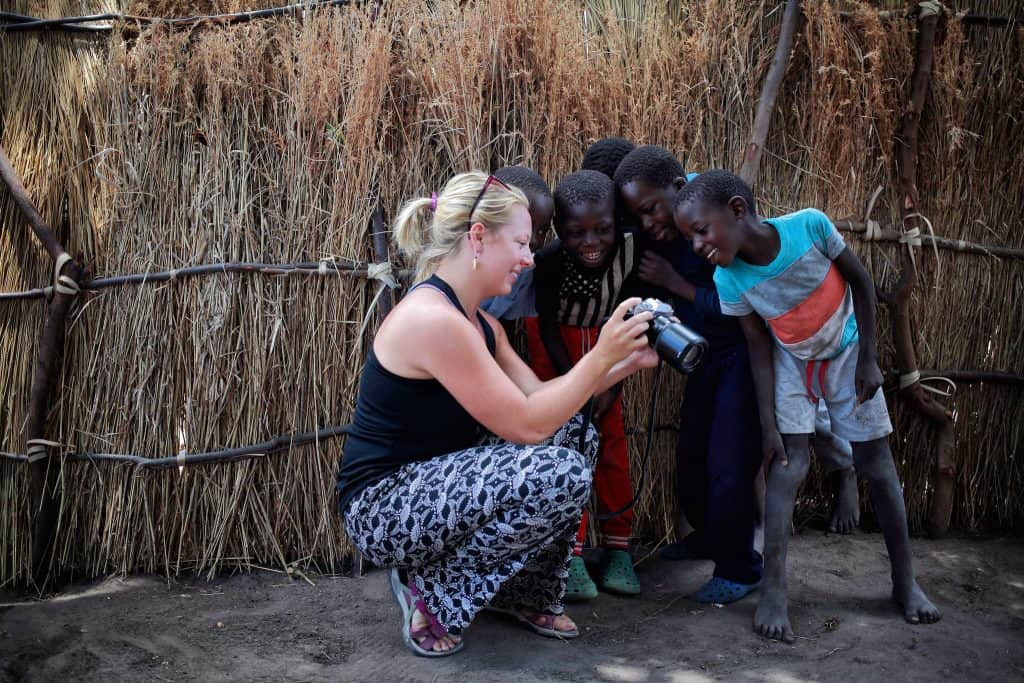 Showing some kid their photos in Namibia