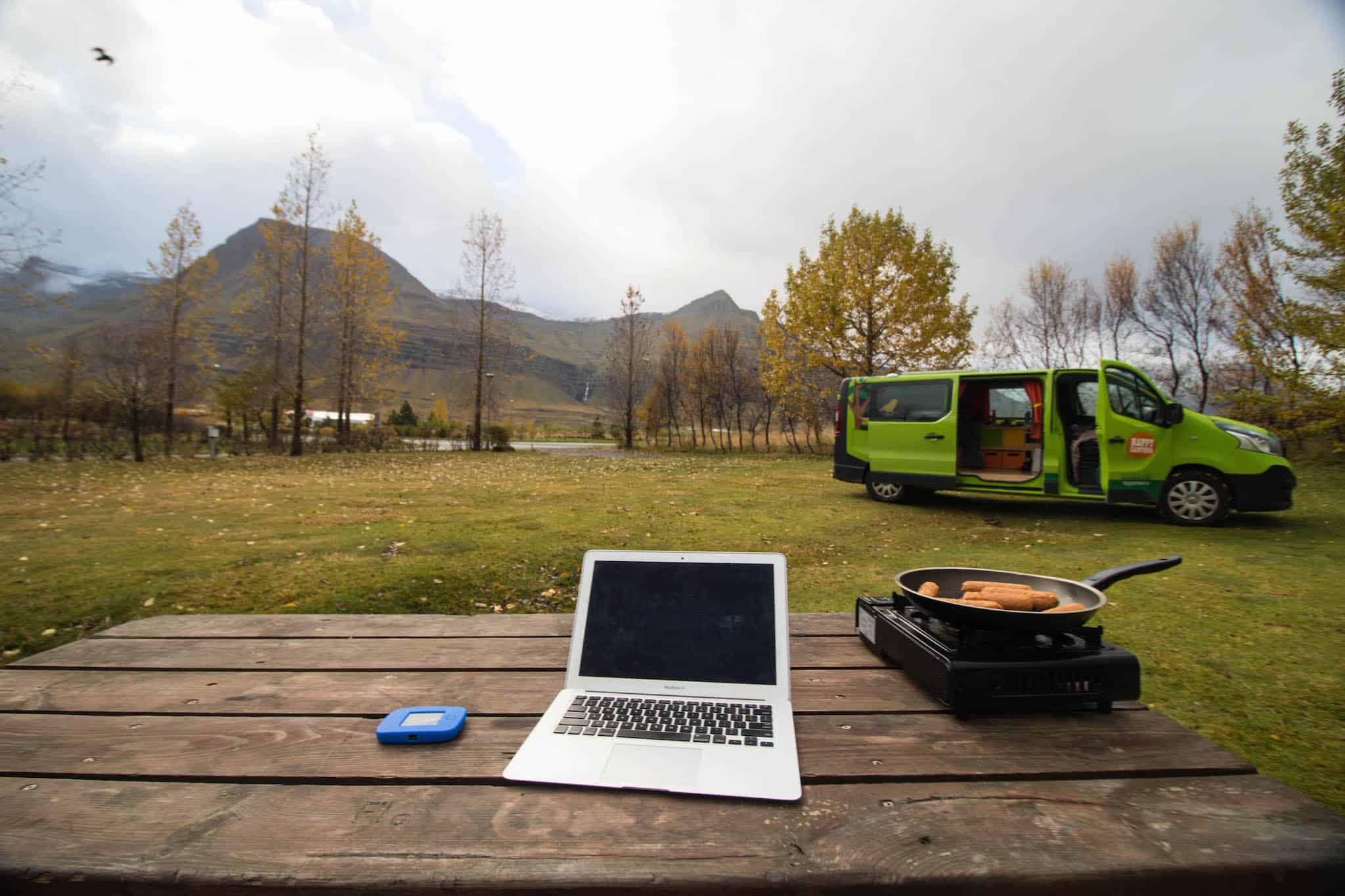 Cooking at a campsite in Iceland with our Happy Camper campervan