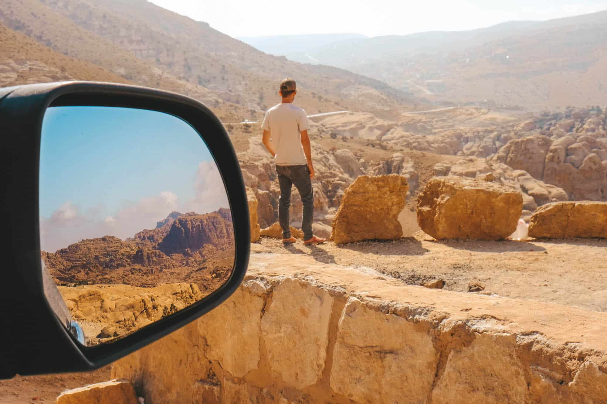 travel in jordan - rearview mirror