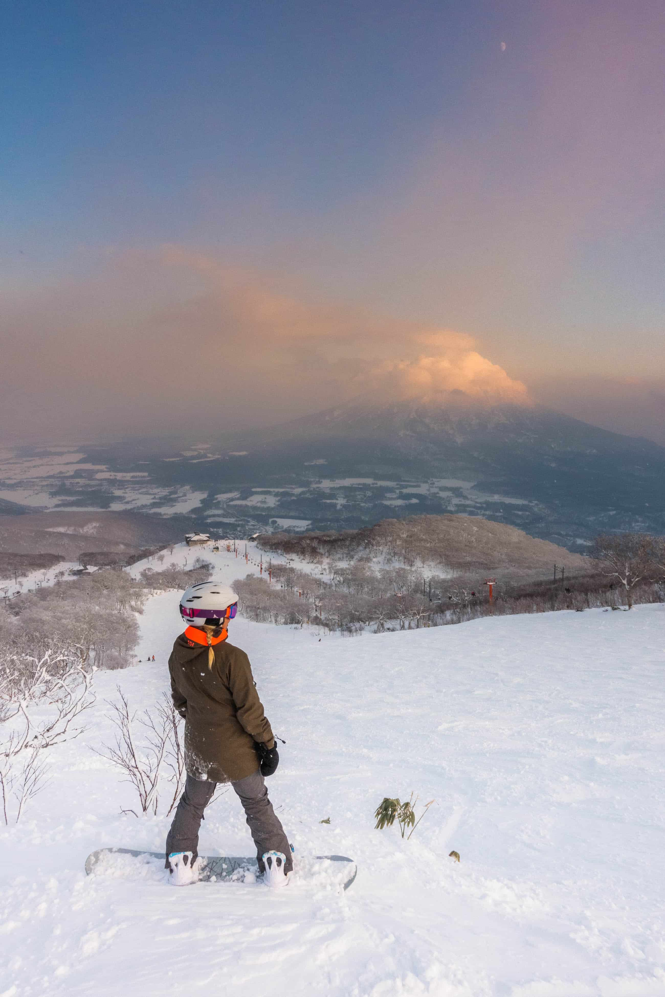 Natasha Standing on the slope of Niseko United looking out to Mt Yotei