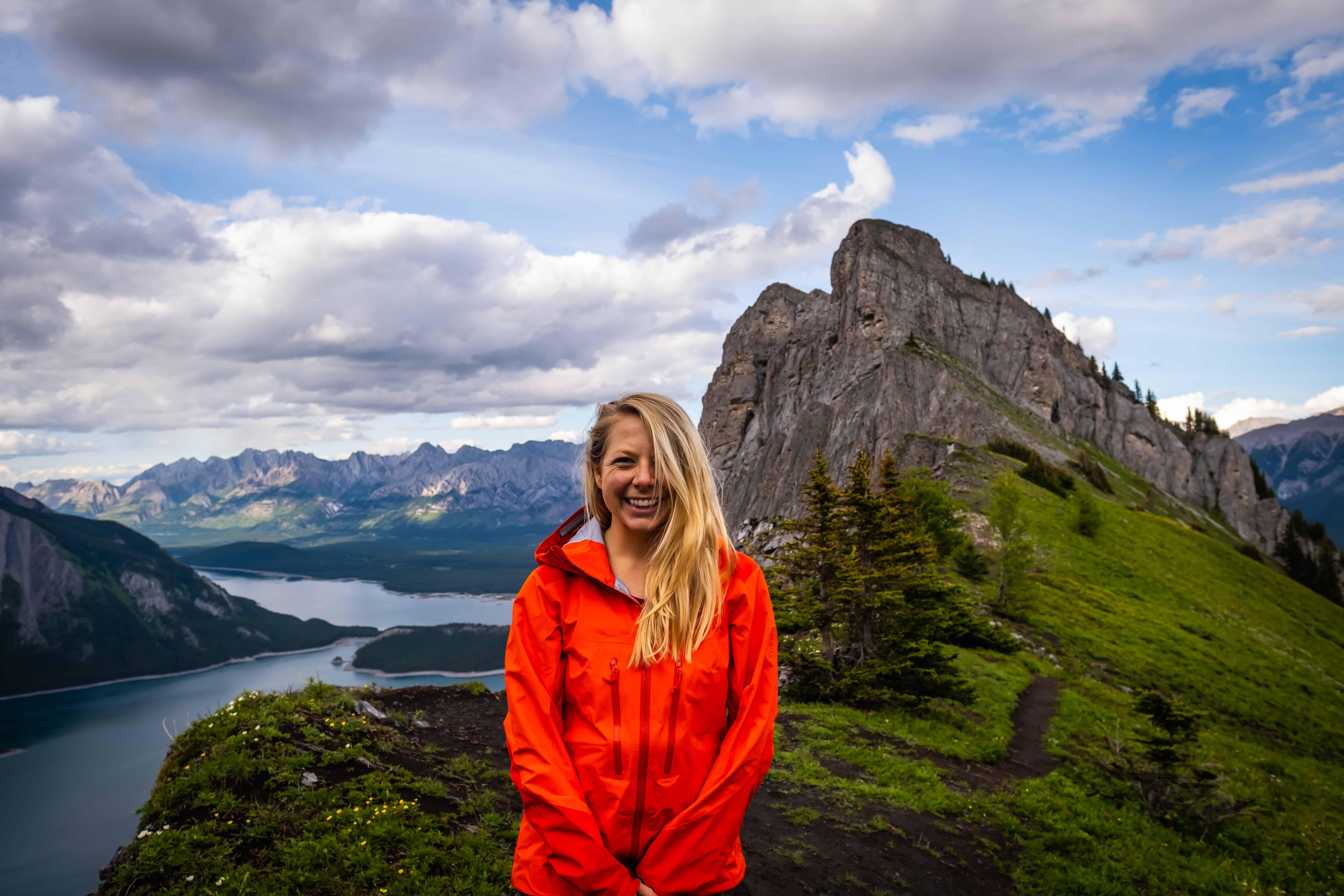 Natasha in women's hiking clothes the Arc'teryx Sentinel AR Shell Jacket