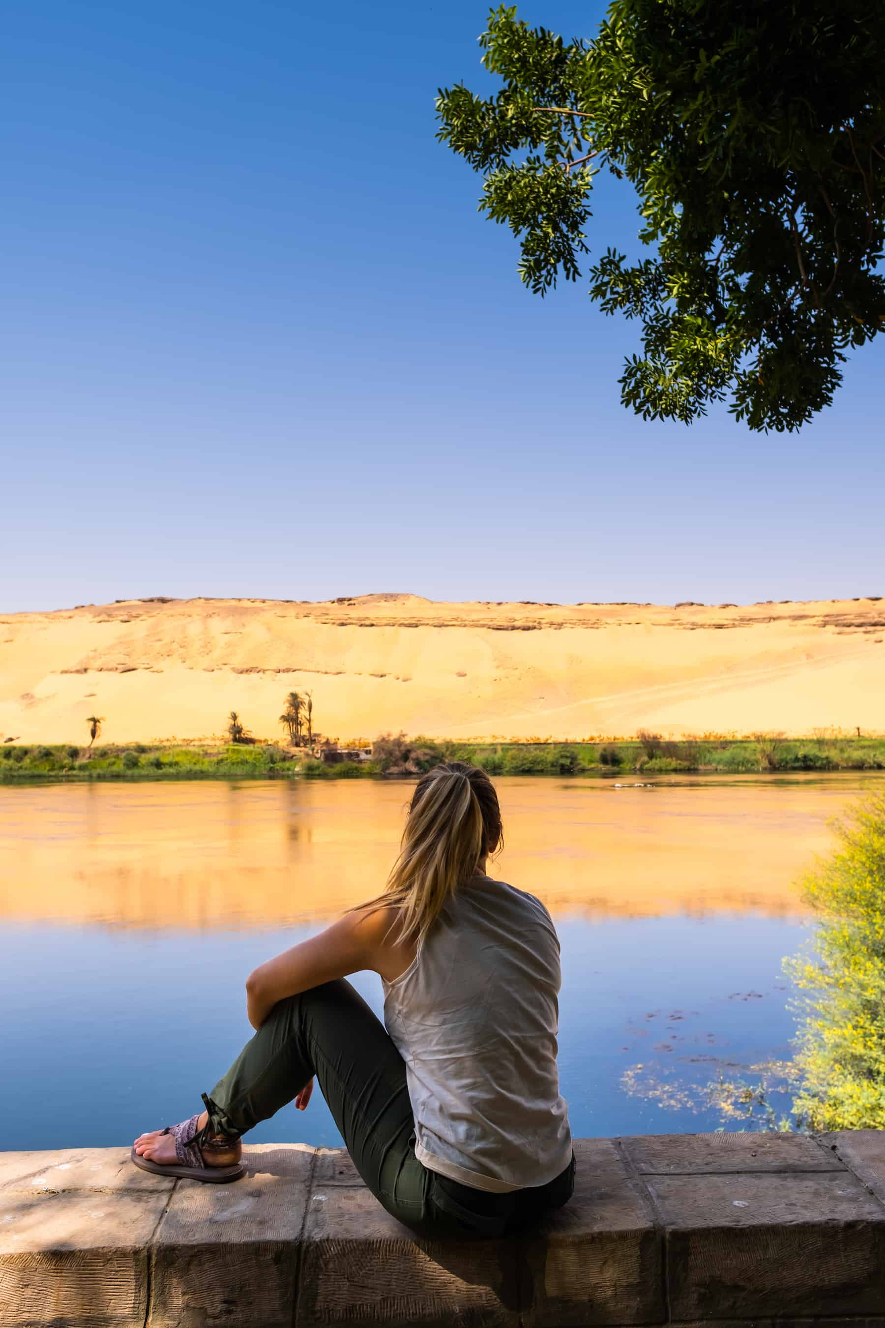 A relaxed pair of pants are perfect to wear along the Nile River
