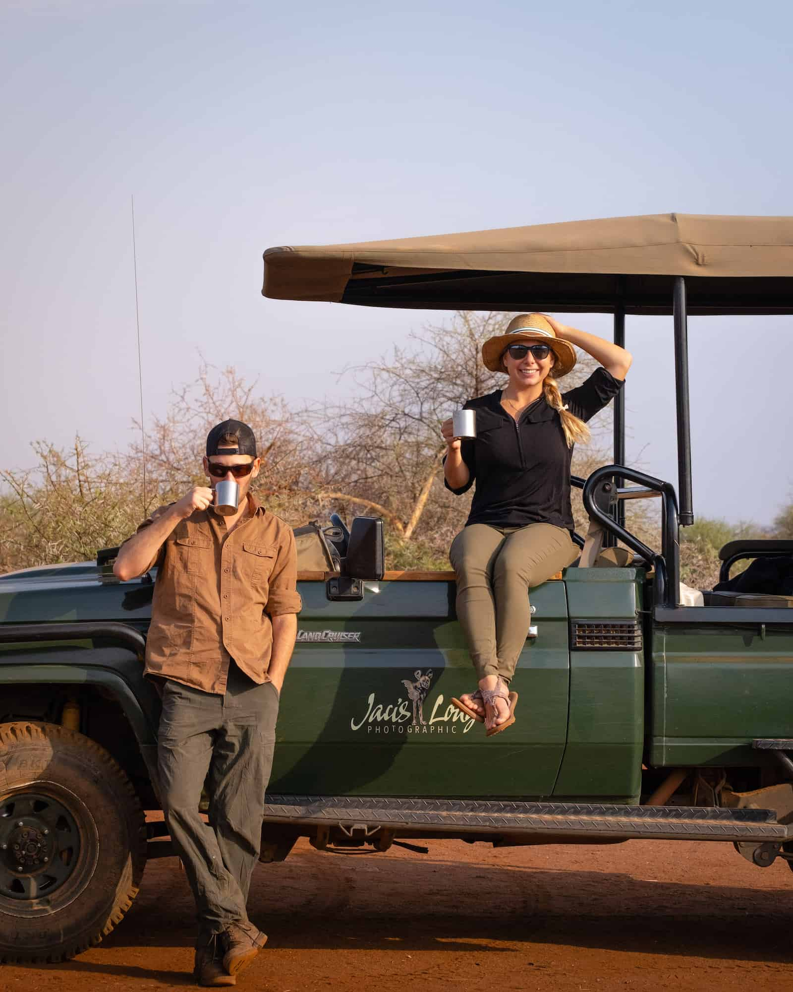 Cameron and Natasha on the Game Cruiser in South Africa