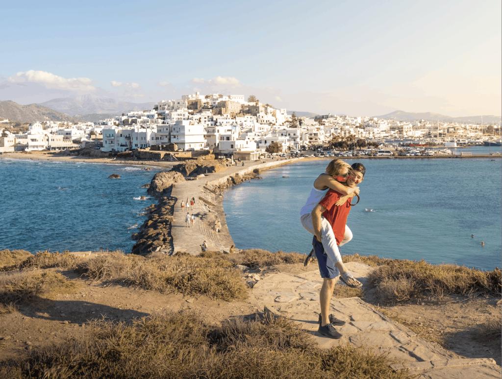 Cameron and Natasha at the Naxos port