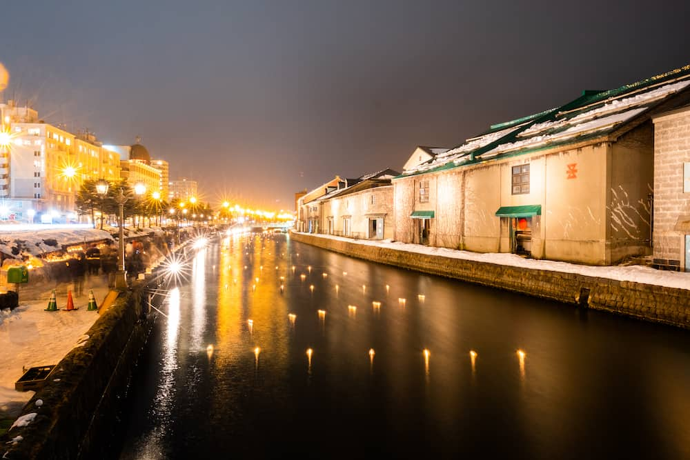 The Famed Otaru Canal in Japan with floating lanterns