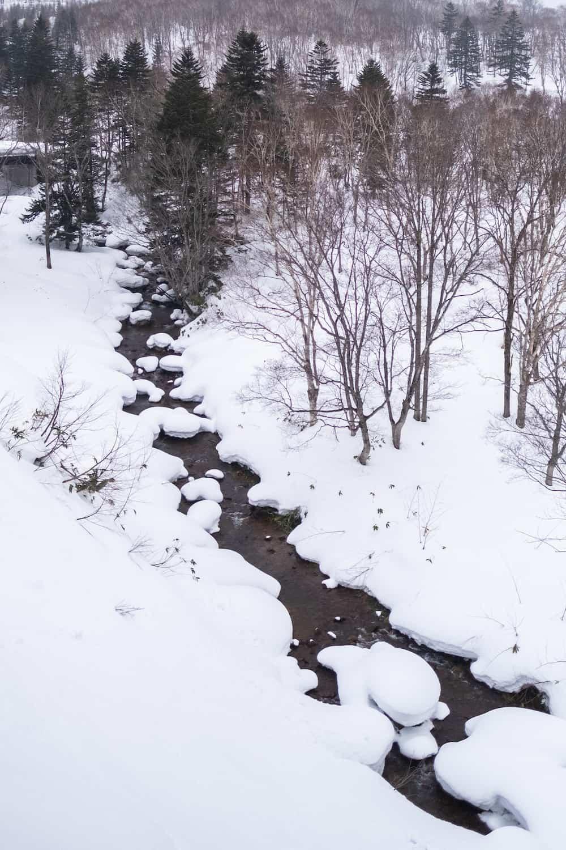 A snowy river near Niseko