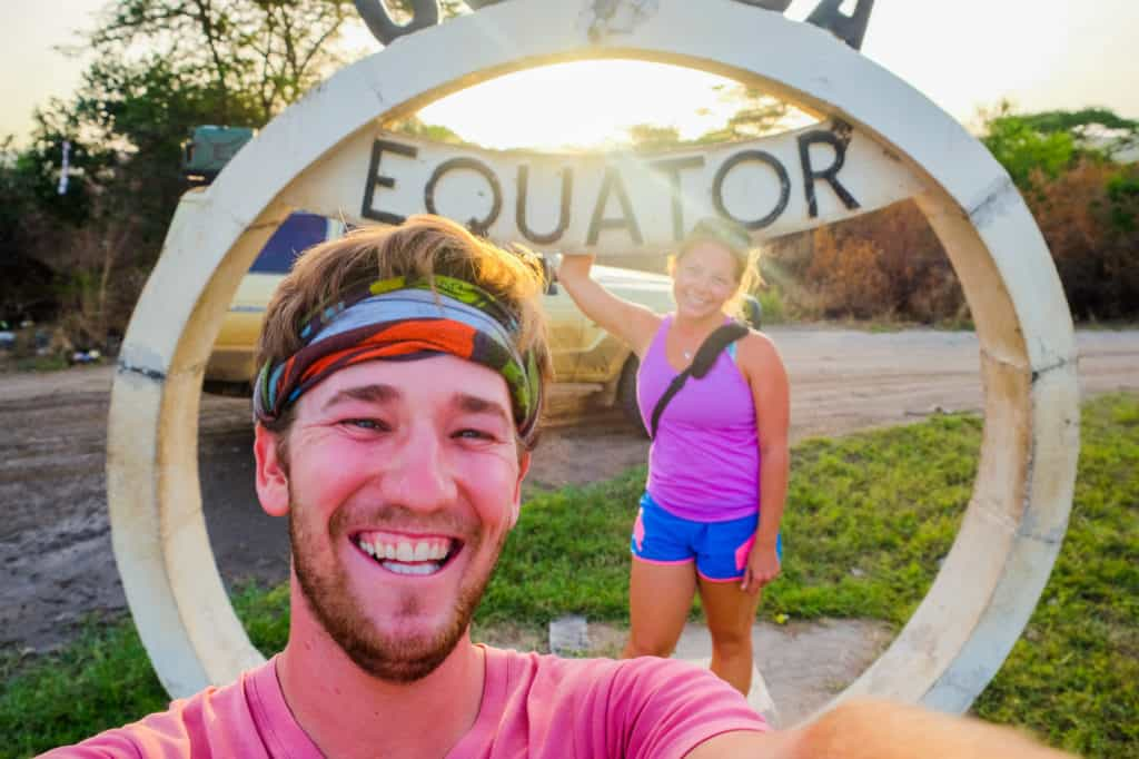 Drive Across Africa selfie at the Equator in Uganda