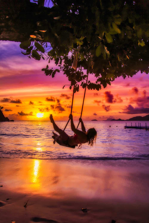Seychelles Swing Sunset