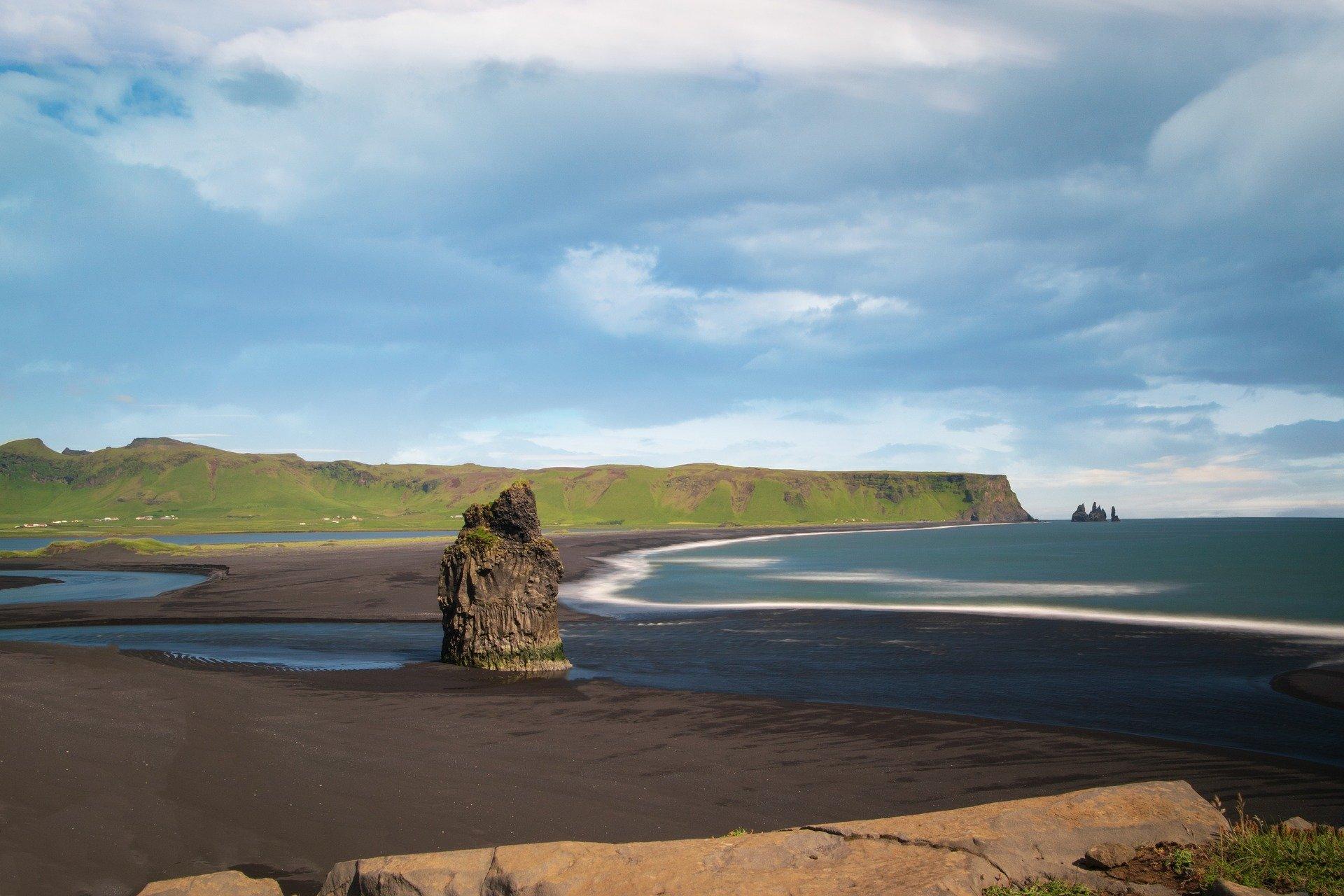 Eagle Rock on Black Sand Beach in Iceland