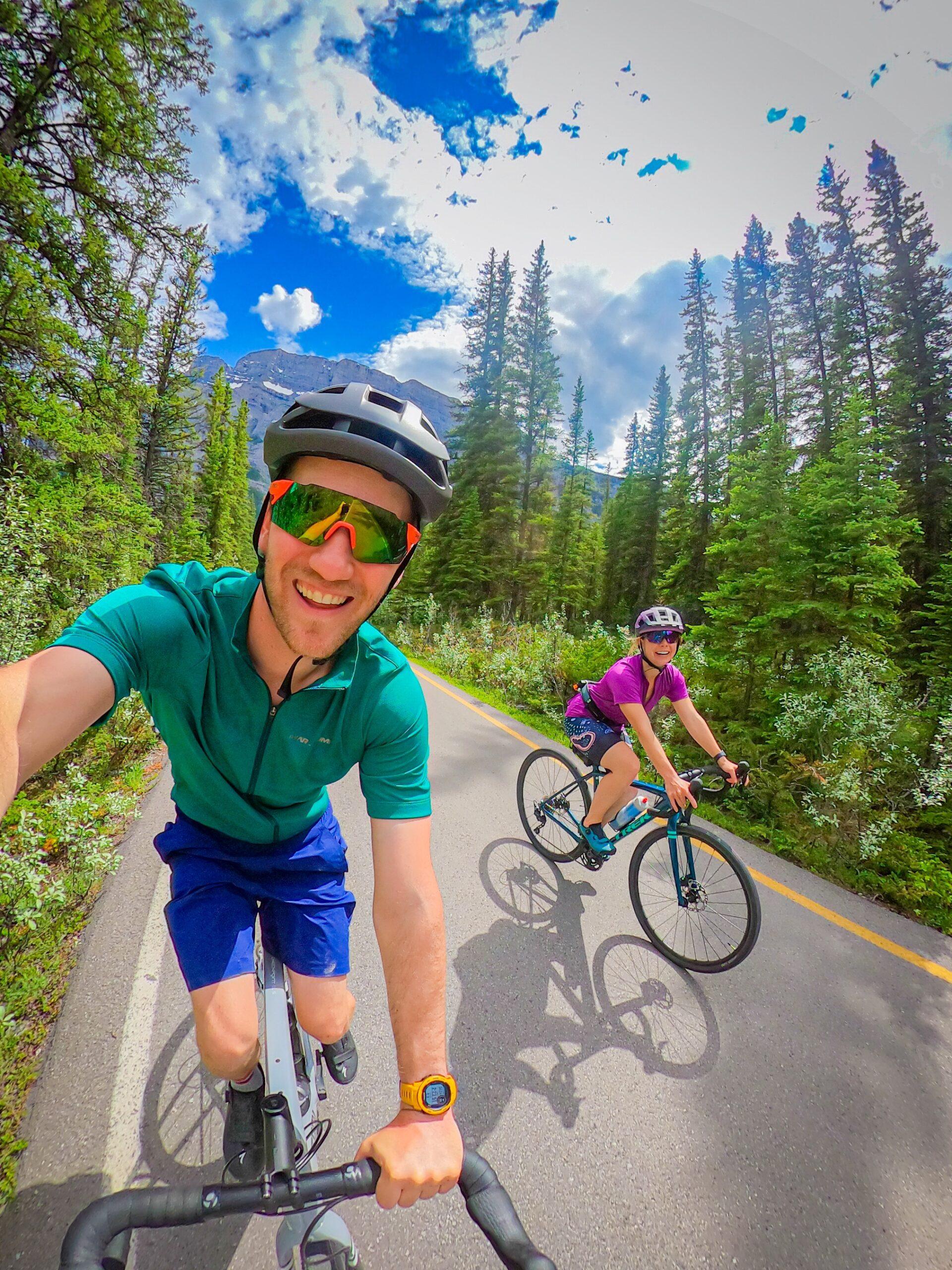 Garmin Smartwatch on A Gravel Bike Ride in Banff National Park
