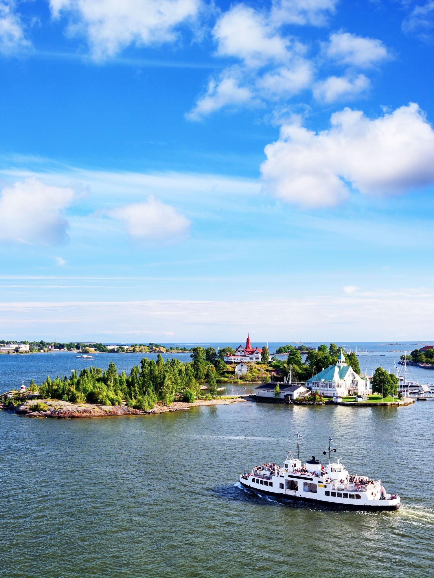 Ferry Arriving at  Small island in Helsinki