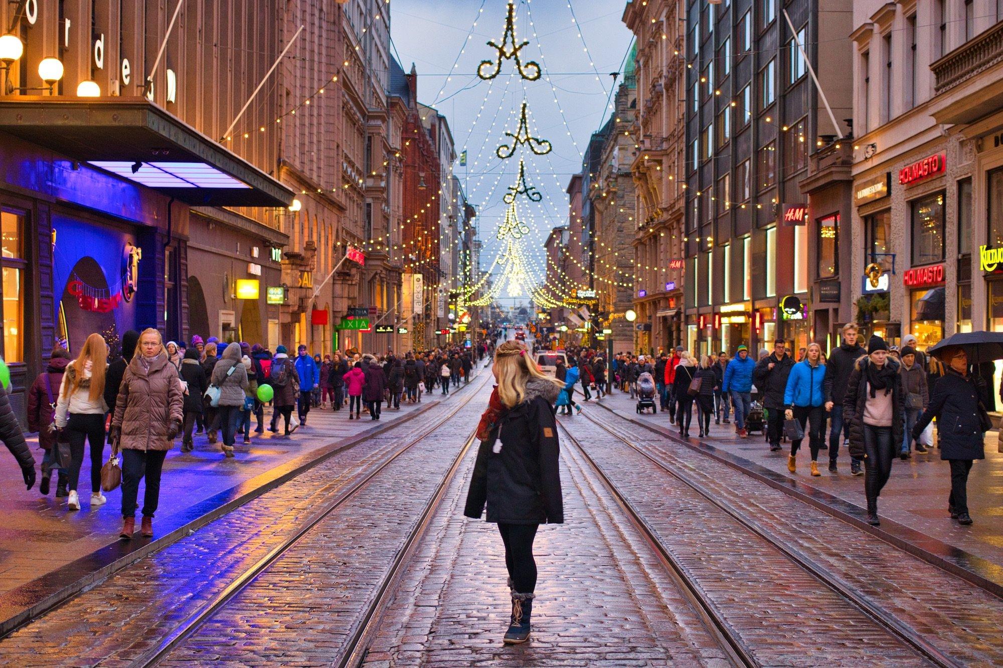 Tasha On Street of Helsinki