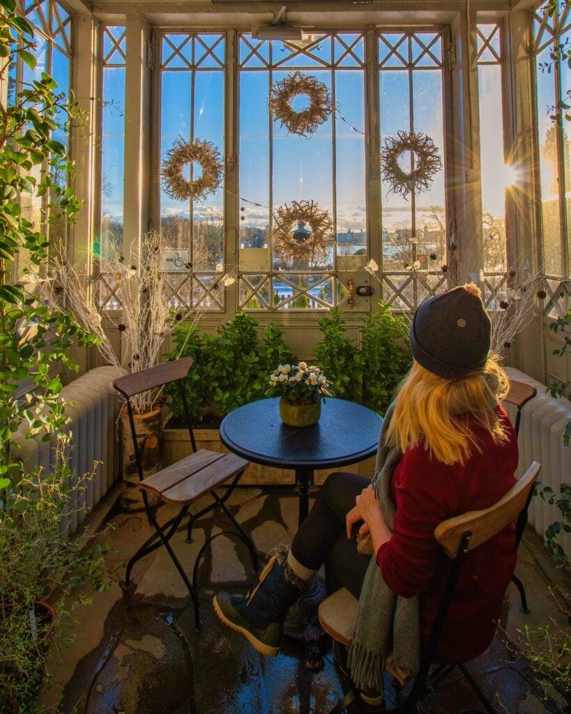 Tasha Sitting In The Helsinki Winter Garden