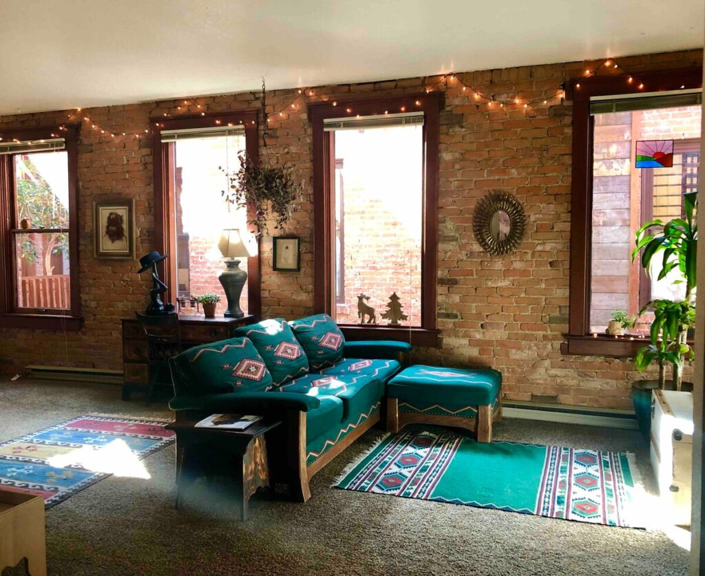 Airbnbs in Whitefish Montana The Artists Loft with brick wall