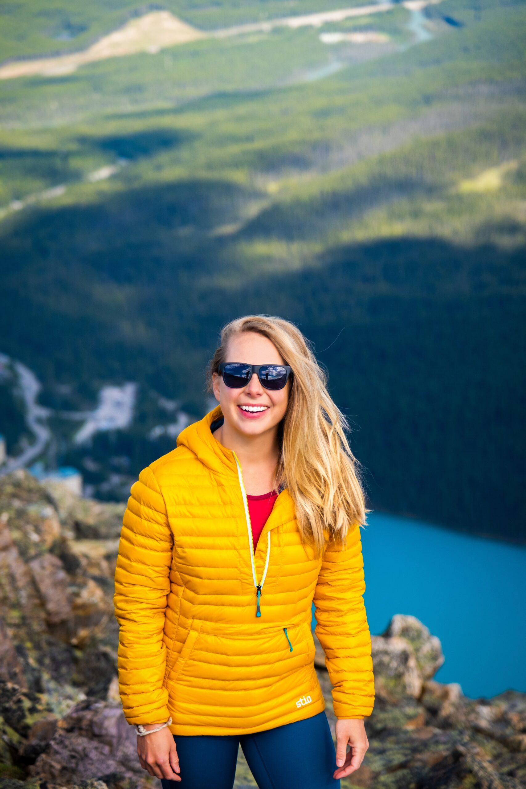 Natasha on Mt St Piran in Pinion Down Jacket