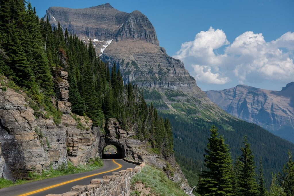 Tunnel And Cliffside Feature of the Going To The Sun Road in Glacier National Park