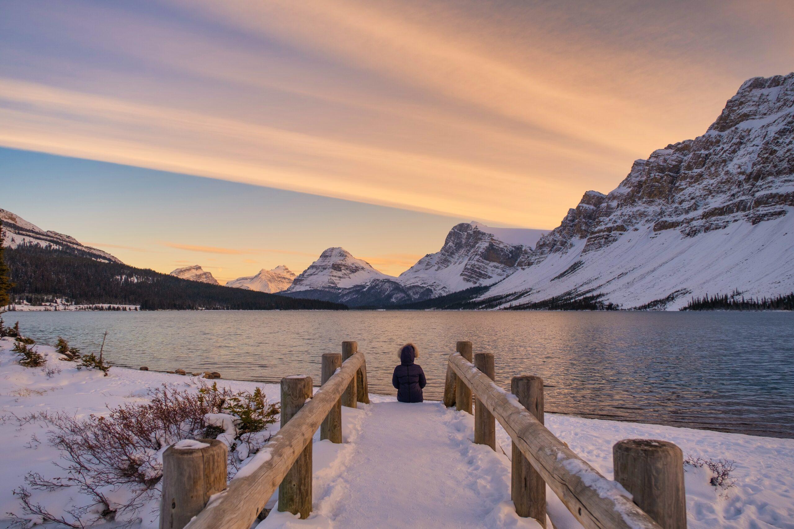 Natasha Sitting Along Bow Lake in the Fall