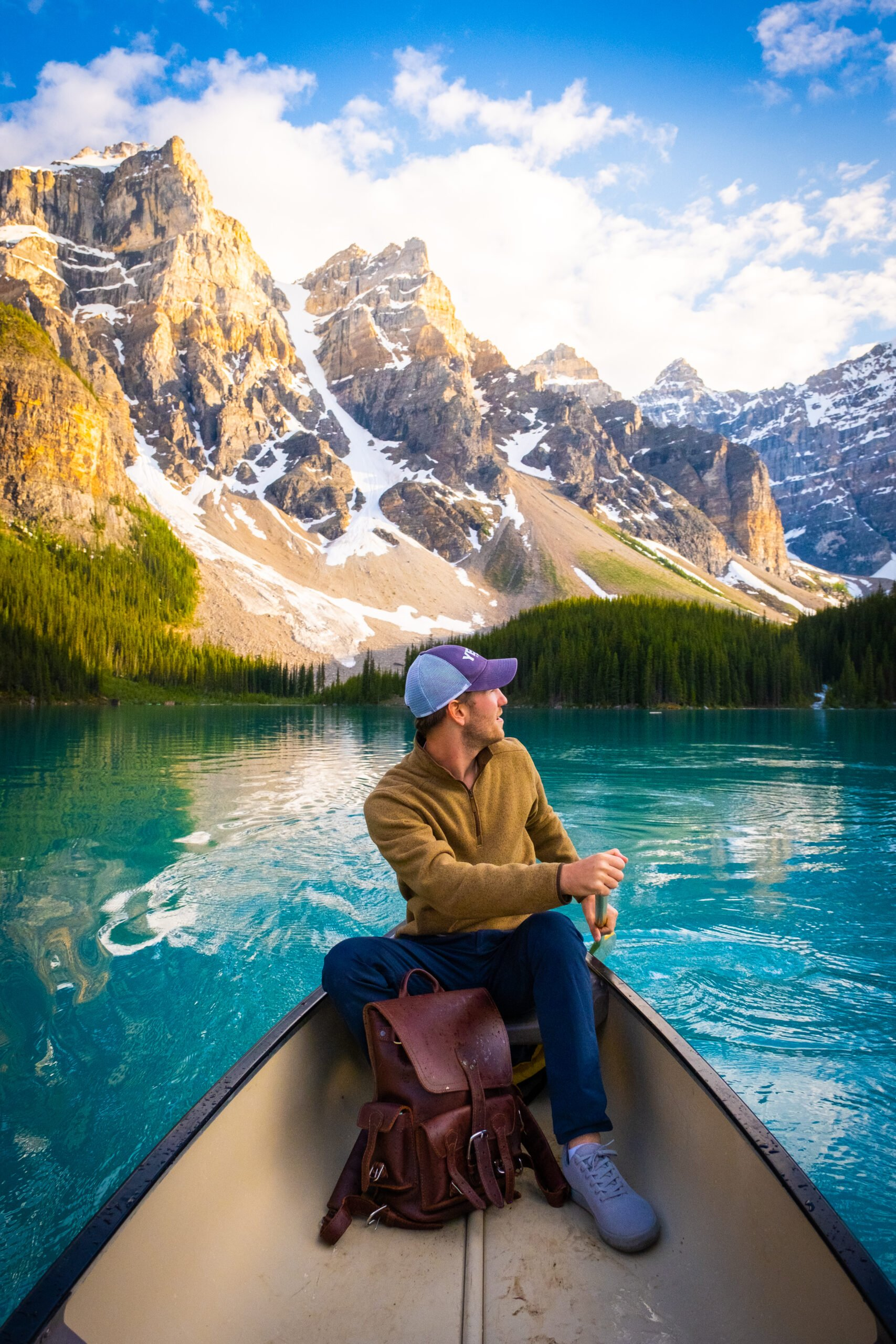 Paddling on Moraine Lake With Covert Cardigan From Arc'teryx