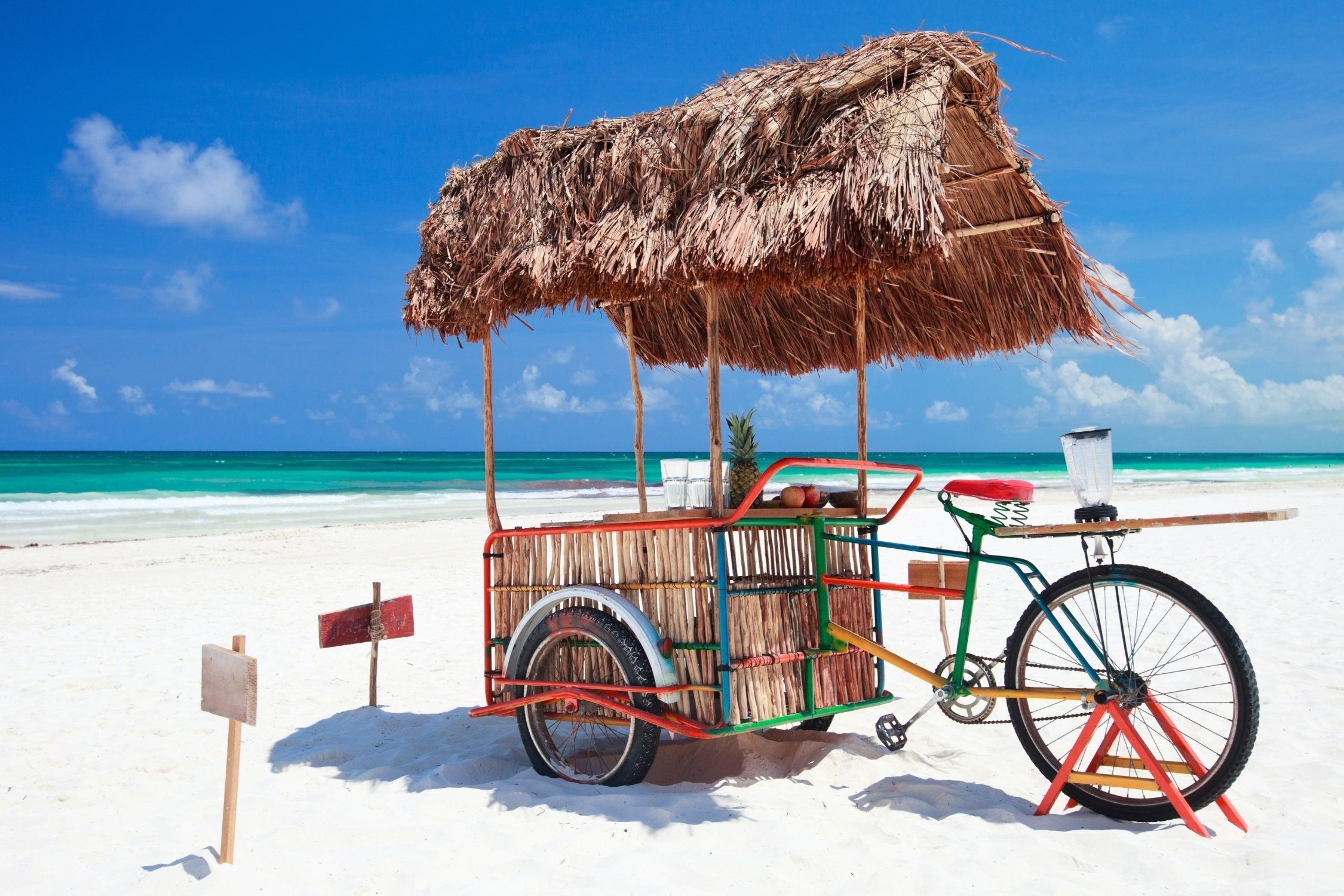 Beach bike on the beach in Tulum with perfect beach weather