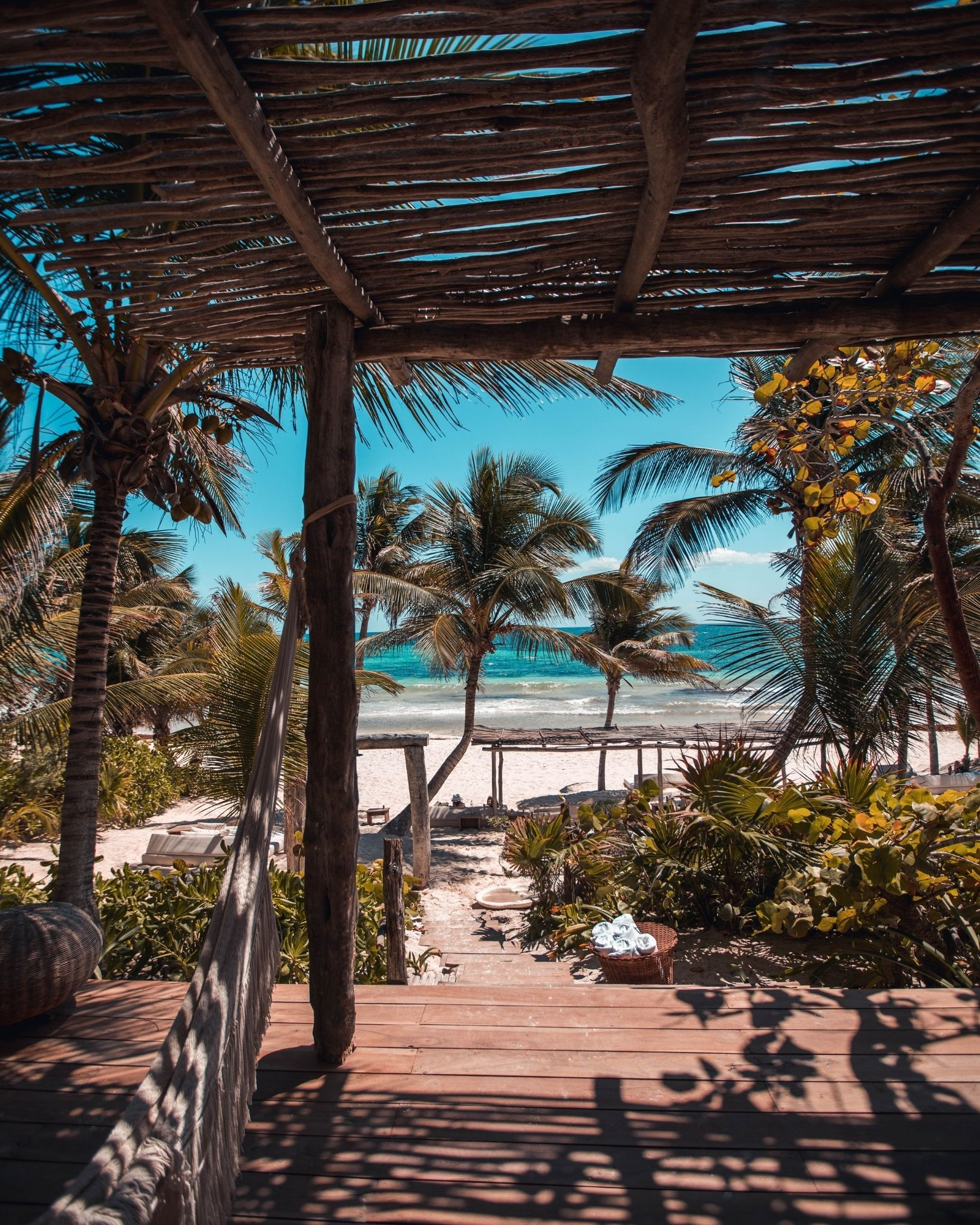 A beach cabana in Tulum is perfect for enjoying sunny weather