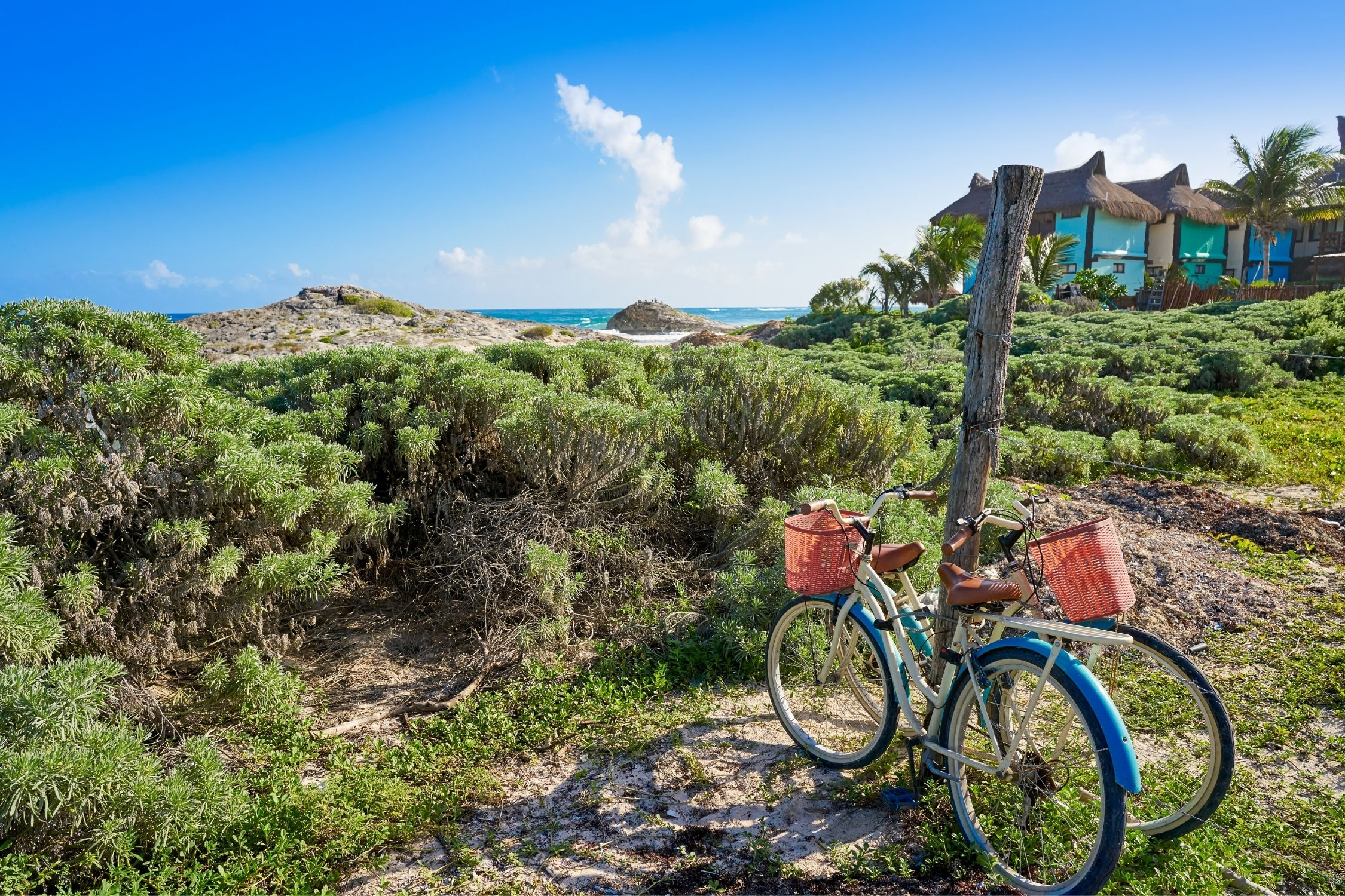 The weather in Tulum is great for biking to the beach