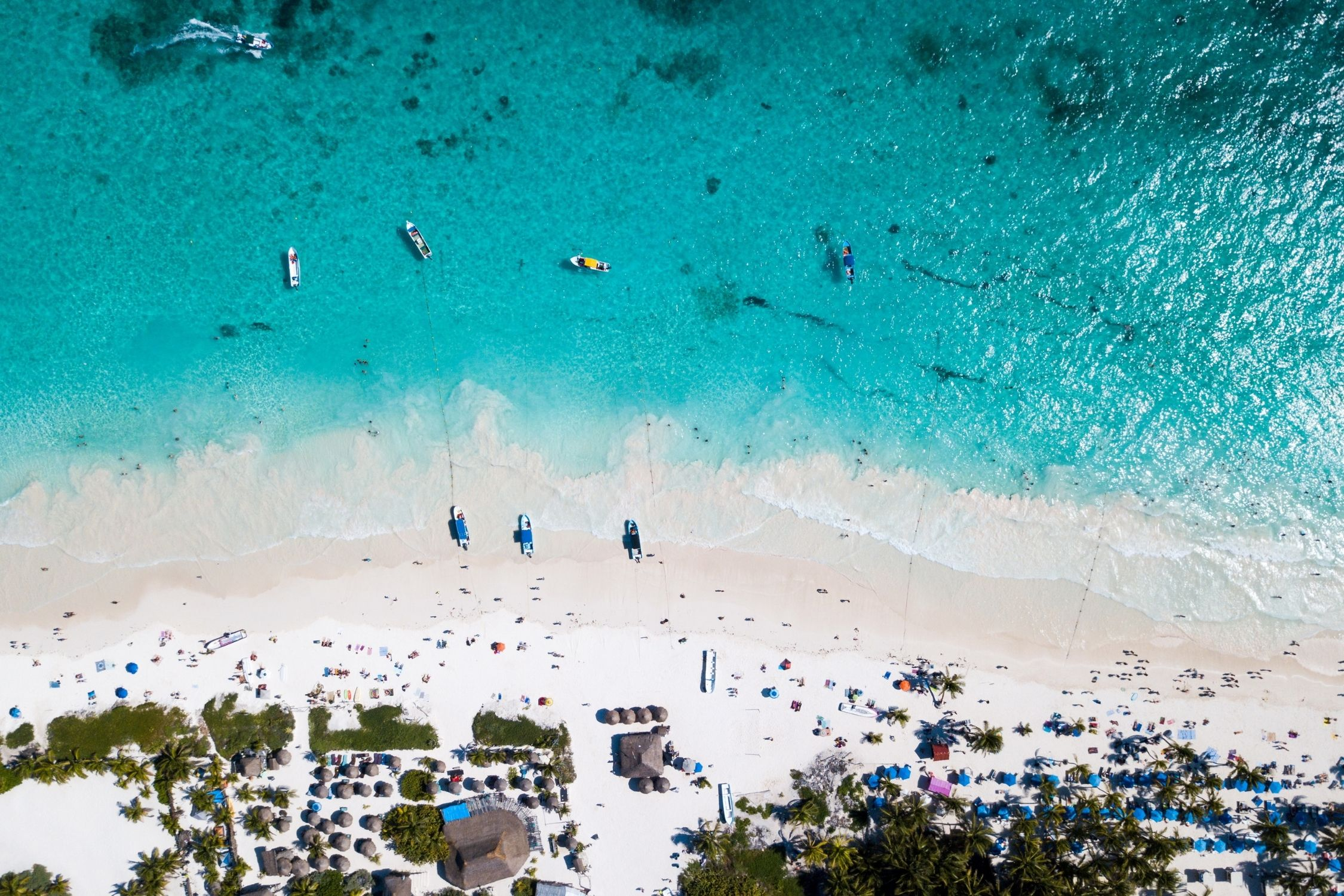 Drone Shot of the Beach in Tulum