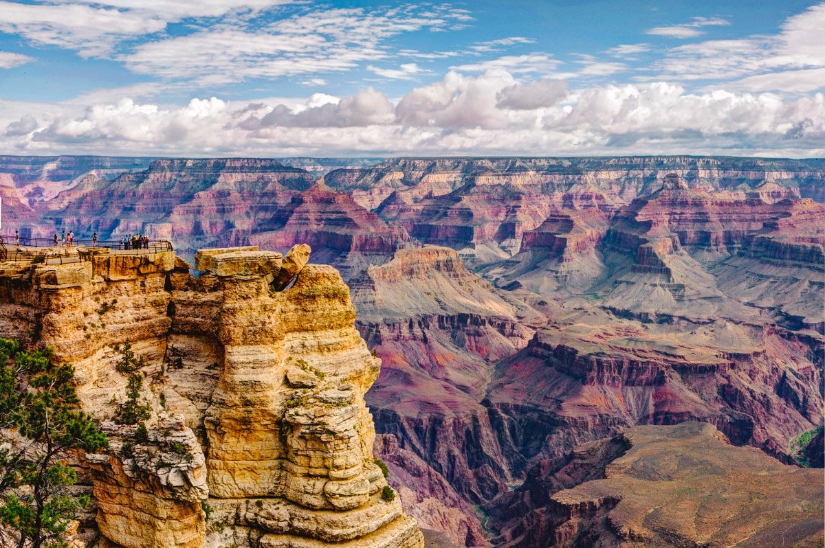 View of Grand Canyon National Park on a partly cloudy day