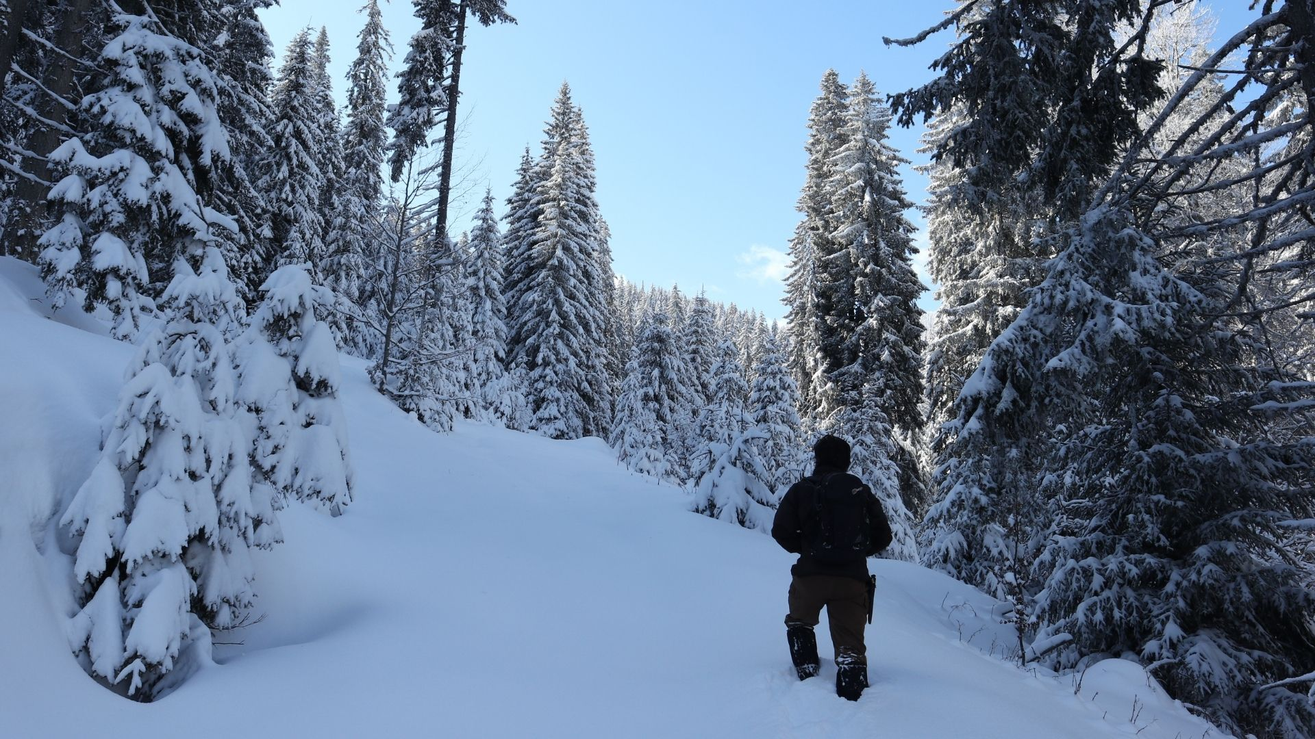Hiking in snow- making snow path