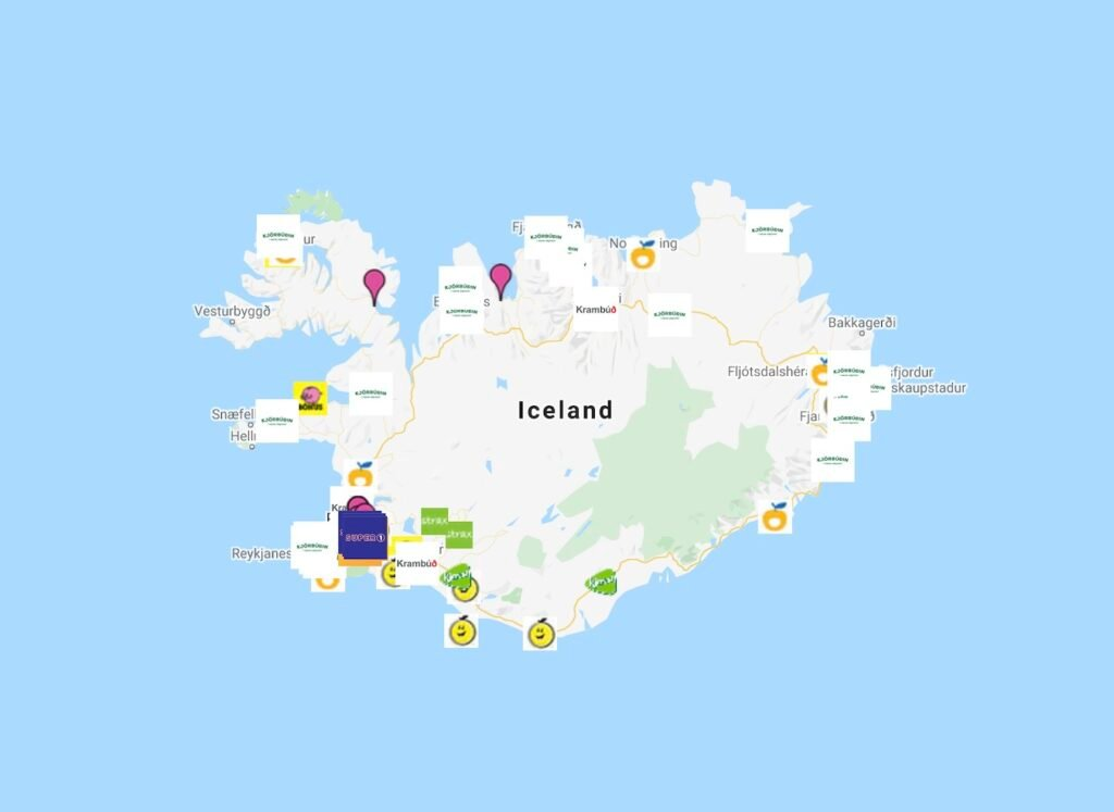 Map of Grocery Stores and Markets in Iceland