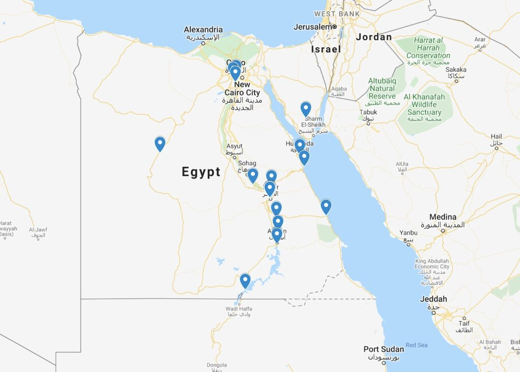 Places To Visit In Egypt Map