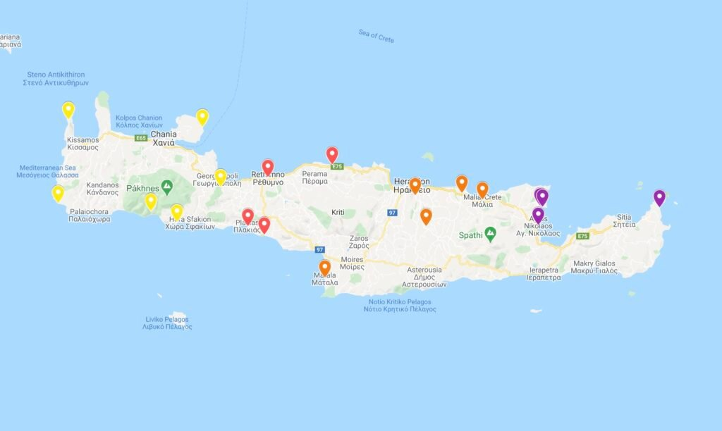 Map of Things To Do in Crete