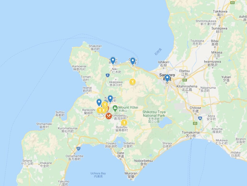 Map of Things To Do in Niseko