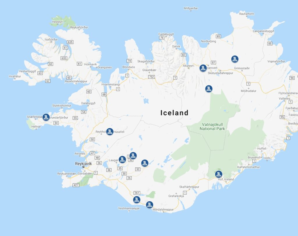 Map of Waterfalls in Iceland