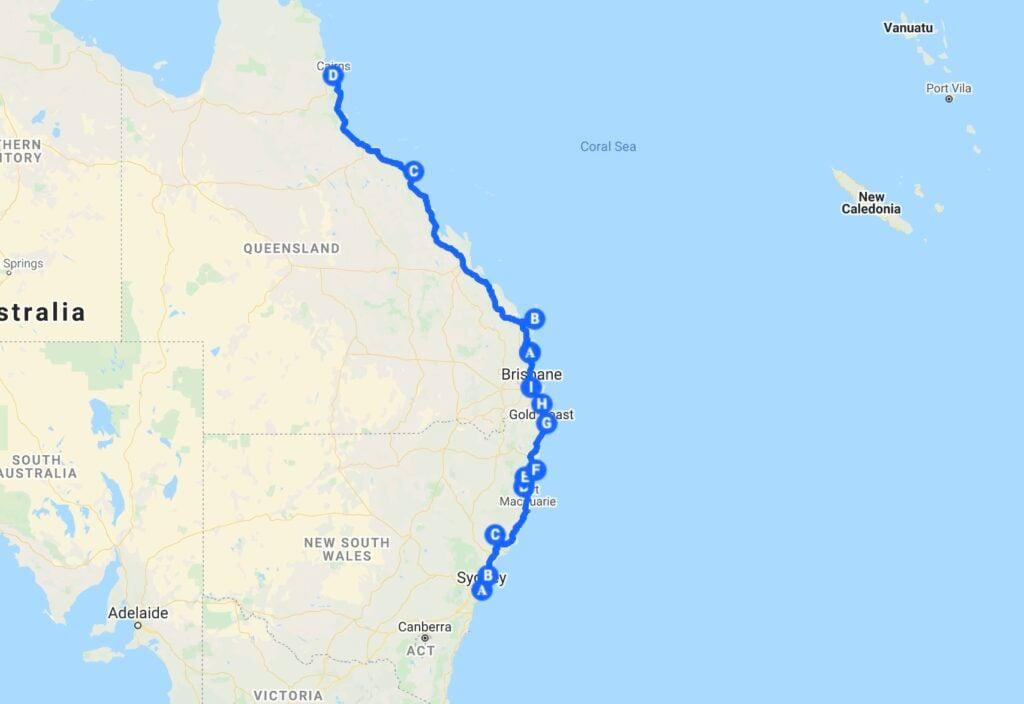 East Coast Australian Road Trip Map