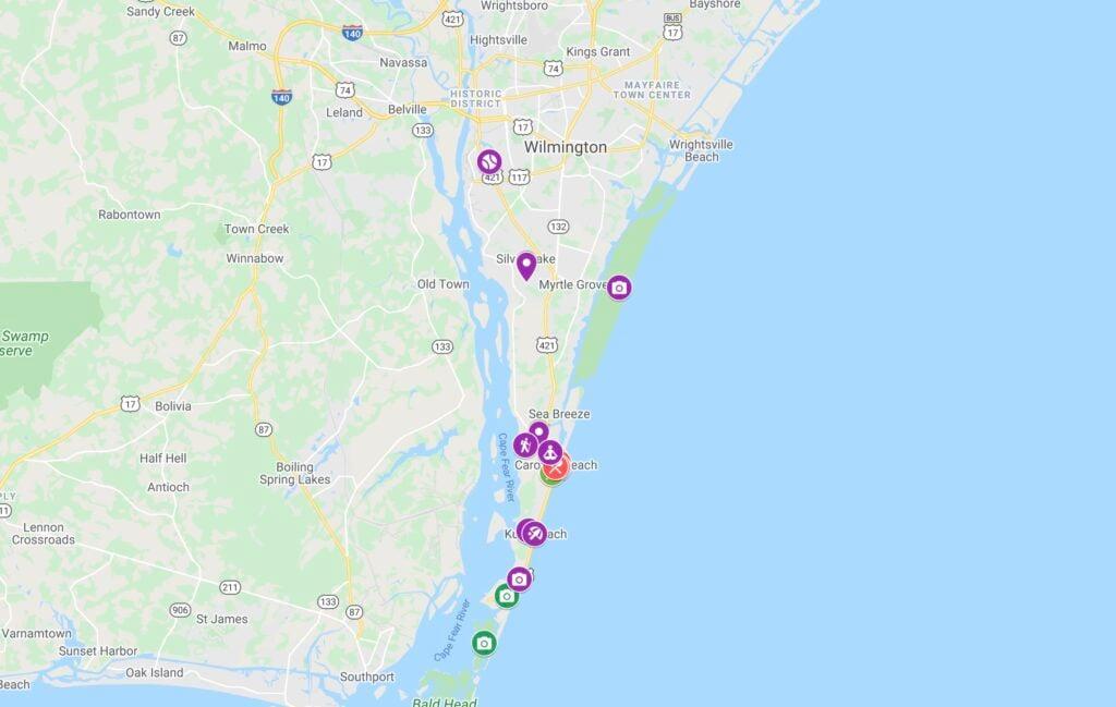 Map of Things To Do in Carolina Beach