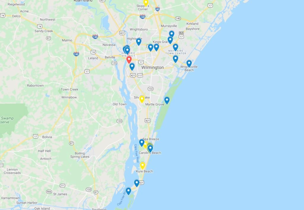 Map of things to do in Wilmington, NC