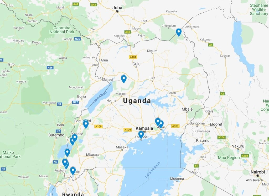 Map of The Road Trip Itinerary in Uganda