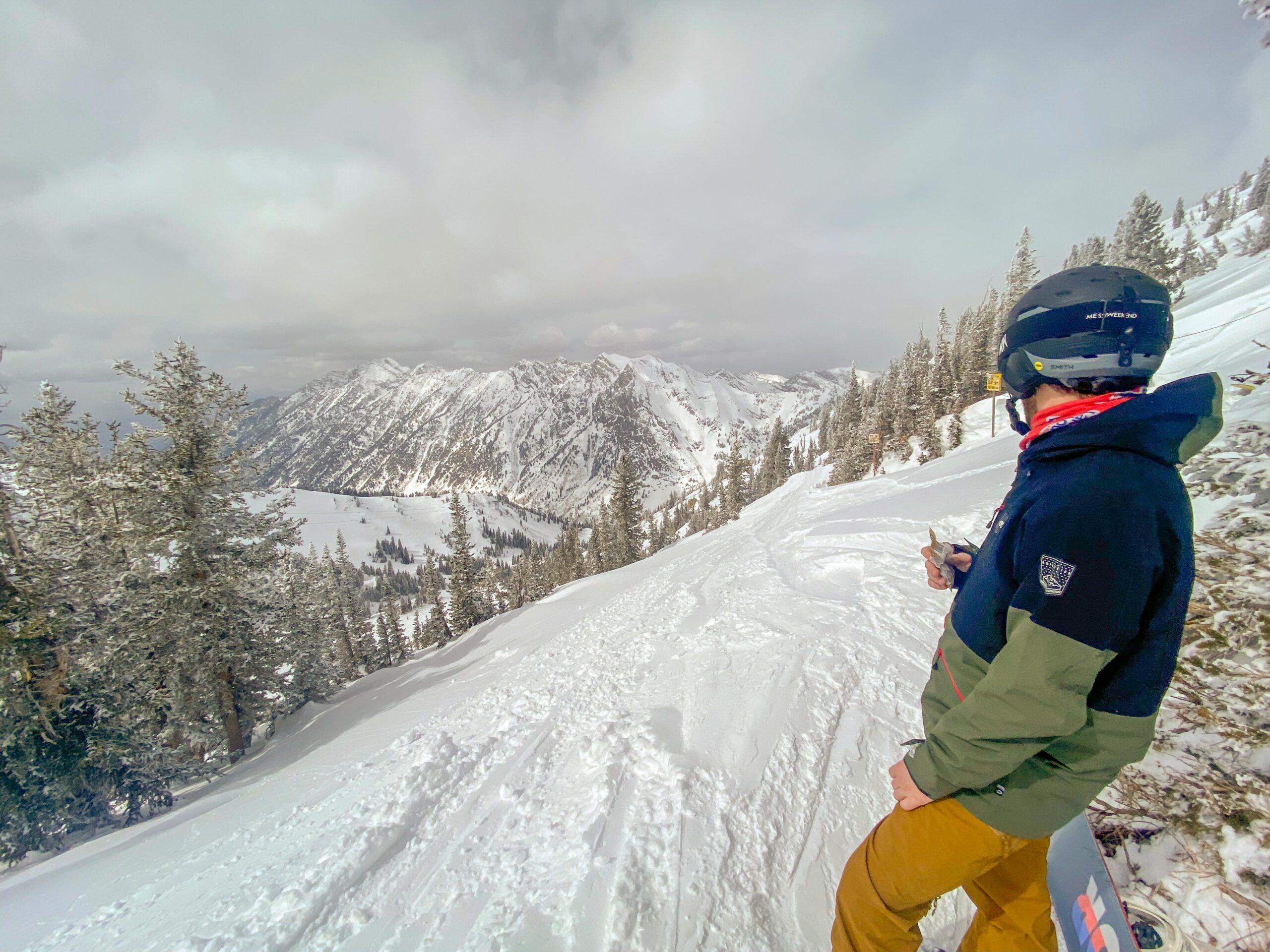 Cameron Eating a snack on High Baldy Traverse at Snowbird