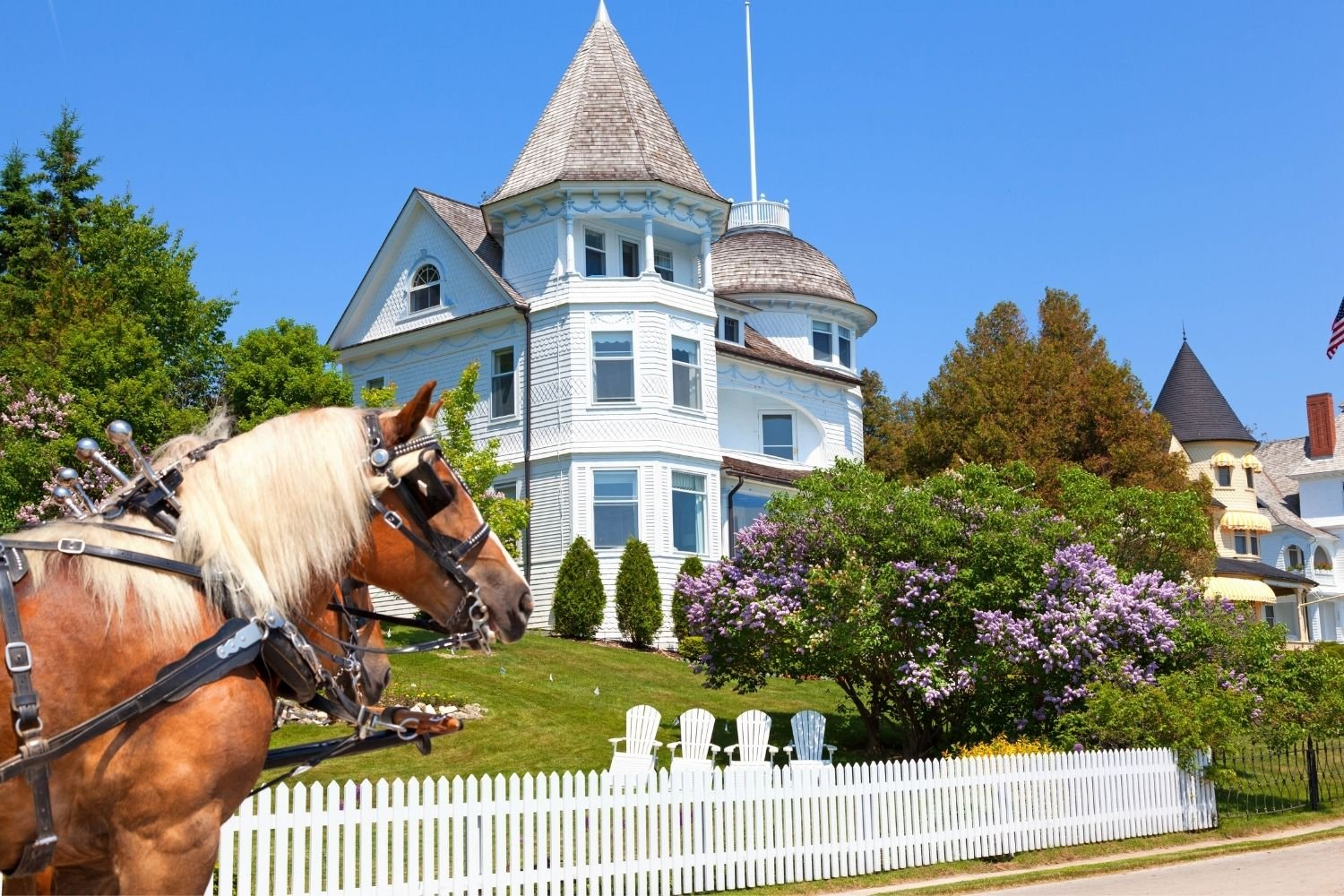 Horse carriage in front of Victoria Bluff on Mackinac Island