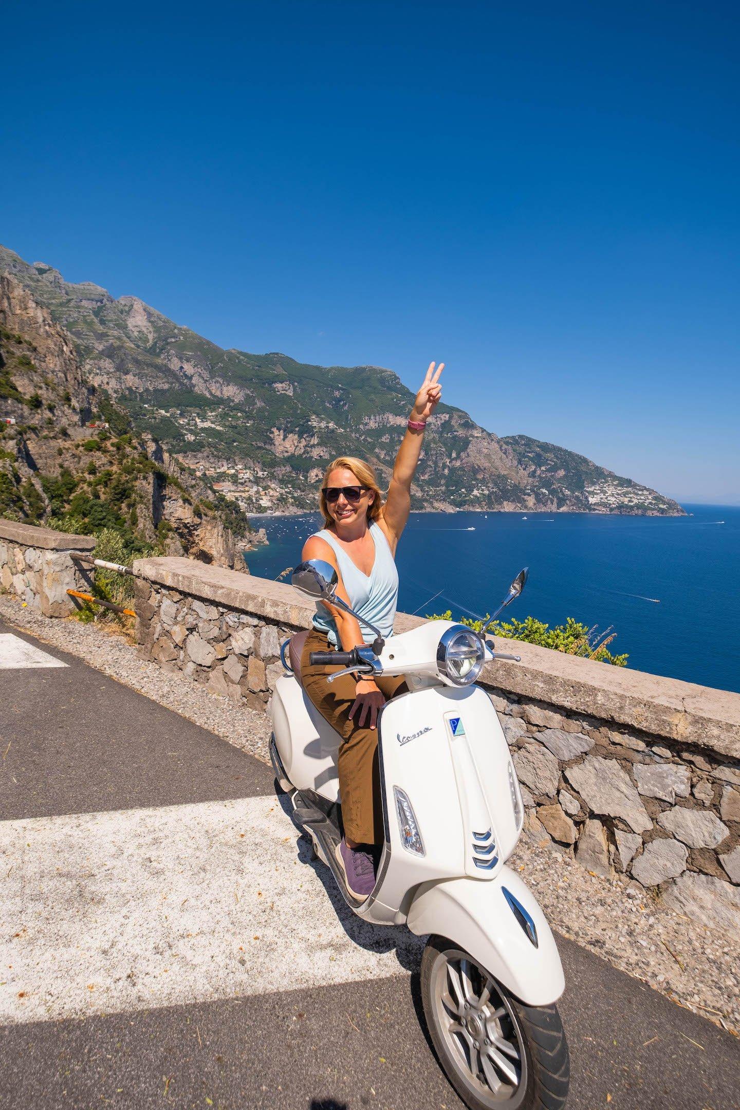 Natasha on a Vespa on The Amalfi Coast