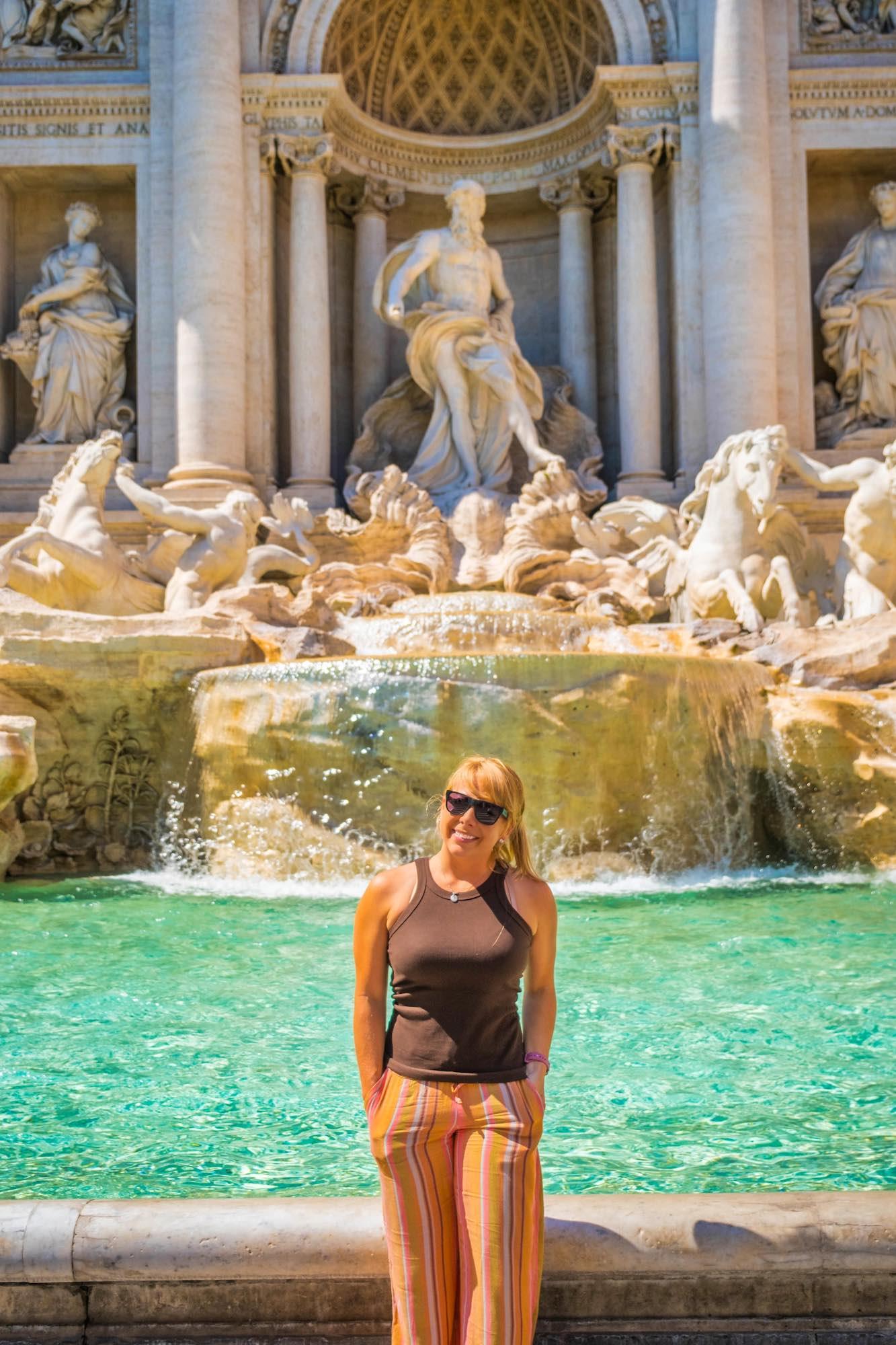 Tasha in front of Trevi Fountain